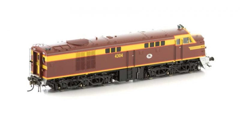 Auscision NSW 43 Class Locomotive 43-6 4304 HO Scale. Indian Red with Silver Pilot.