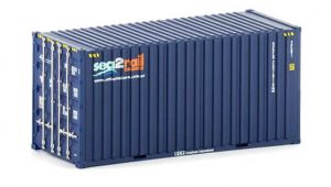 Twin Pack of Auscision 20 foot Hi-Cube SCF Sea 2 Rail containers, HO Scale.