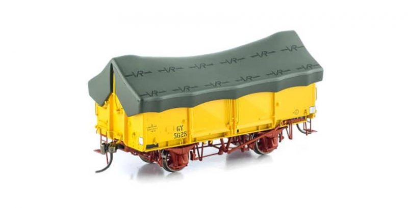 Auscision VICTORIAN GY WAGON VFW-34VR Hansa Yellow GY with Green Tarpaulin (6 Car Pack)