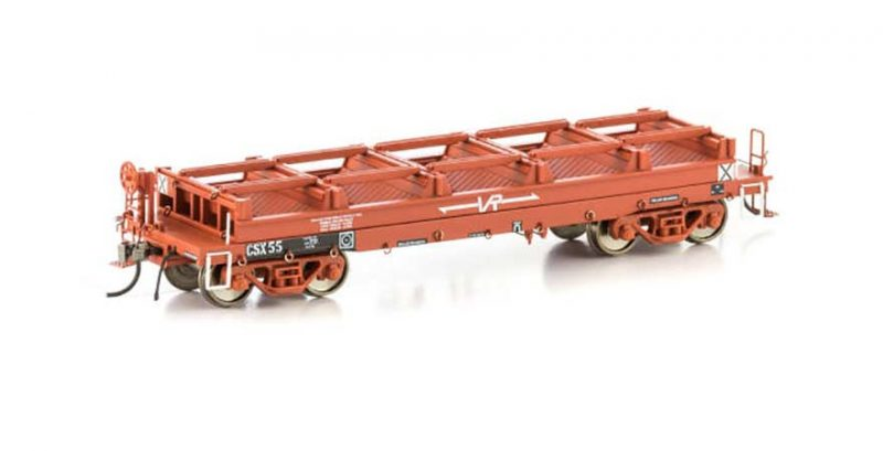 Auscision VIC CSX Coil Steel Wagon VSW-1 CSX Wagon Small VR Logo, VR Red without Tarp supports (4 Car Pack)