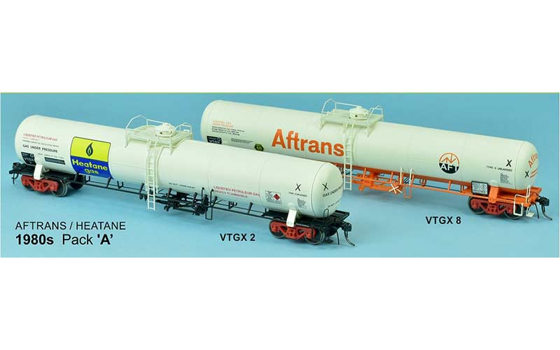 SDS Gas Rail Tank Car 1980s Pack 'A', Aftrans and Heatane Ho Scale 2 Pack HO Scale Product Codes VTGX 2 and VTGX 8
