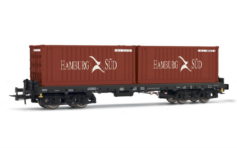"Rivarossi (H0 1:87) DB, container wagon type Sgmms738, loaded with 2 x 20"" container"