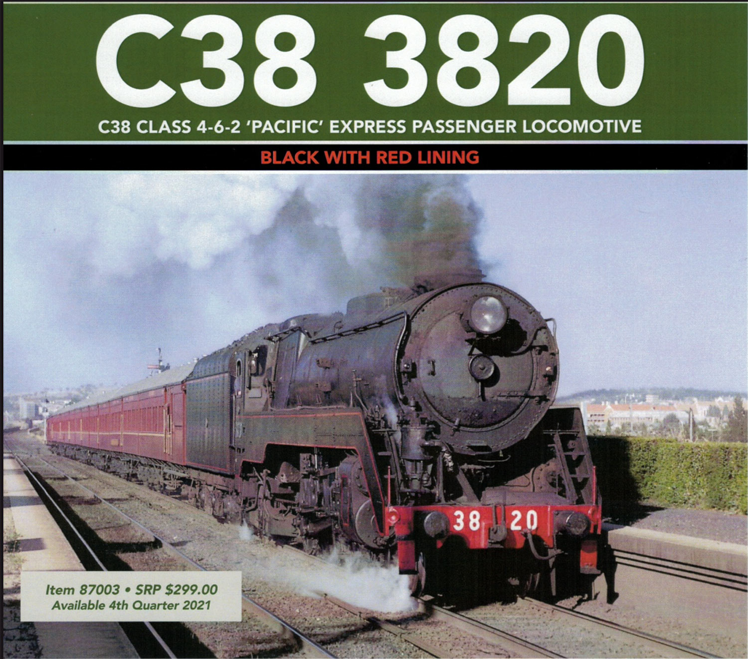 ARM NSWGR C38 Class 4-6-2 'Pacific' Express Passenger Locomotive #3803 Black with Red Lining Colour Schem